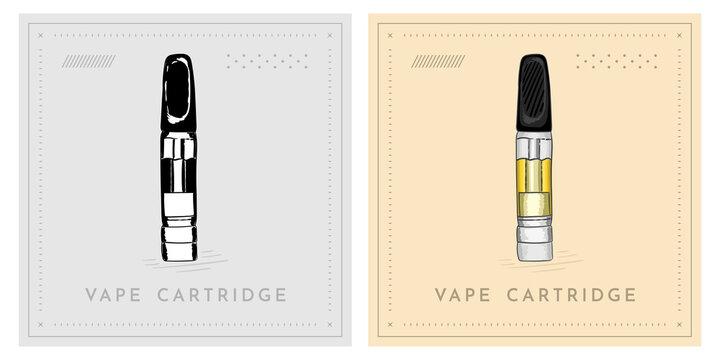 Vape cartridge CBD hemp cannabis vintage retro illustration