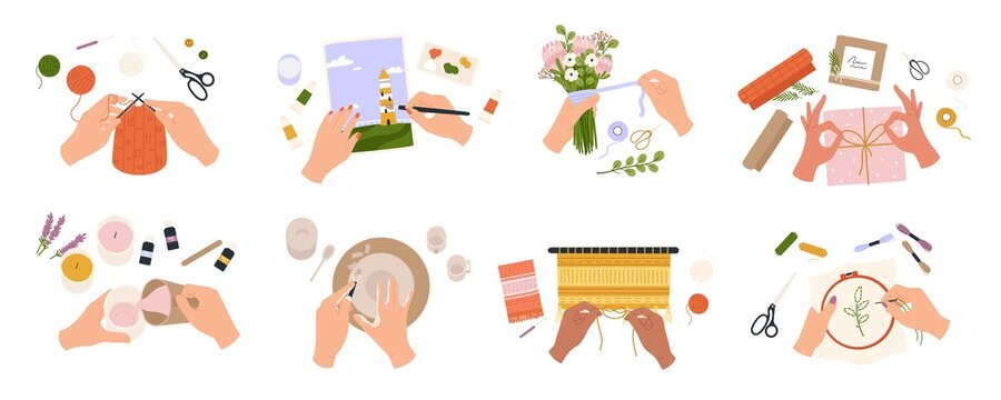Hands create crafts. Handmade hobbies, creative work and art. People knit, draw, embroider, make candles and bouquets, top view vector set