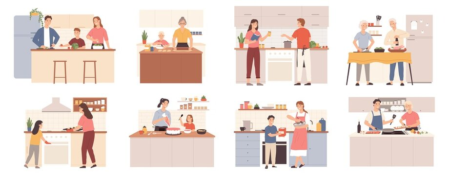 Family cooking at home. Parents, grandparents and kids preparing food for dinner, bake cookies and cake. Mom and child at kitchen vector set