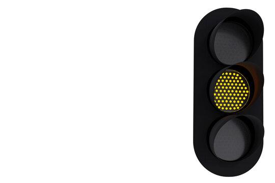 Yellow traffic light. Modern LED traffic light isolated on white background. 3d rendering.