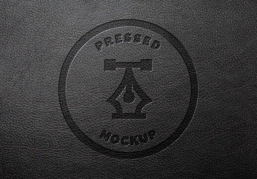 Dark Leather Pressed Stamping Logo Mockup