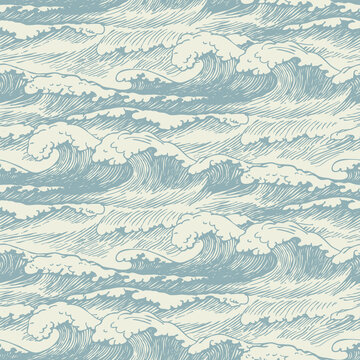 Vector seamless pattern with hand-drawn waves. Decorative illustration of the sea or ocean, stormy waves with breakers of sea foam. Repeating background in retro style