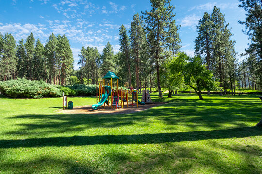 The outdoor children's playground at the Liberty Lake State Park