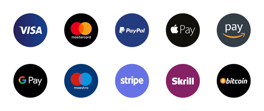 Payment Options Logo Badges. Accepted Payments Circle Button Badges Vector for Online Shopping E-Commerce Websites. Visa, Mastercard, Paypal, Apple Pay, Maestro etc. Editorial Stock Vector