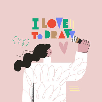 I like to paint. The girl writes on the wall. Character in the style of flat on a pink background.
