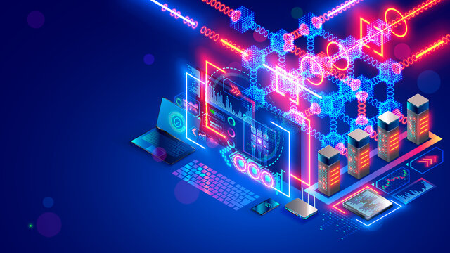 Blockchain technology isometric concept. Computer farm mining cryptocurrency, digital money. Server racks in data center mine crypto currency, process big data consisting of chain of digital blocks.