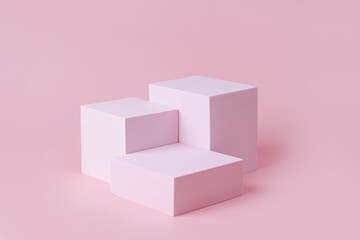 Obraz Geometric shapes podium for product display. Monochrome platform on pink background. Stylish background for presentation. Minimal style. - fototapety do salonu