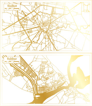 Sukkur and Sialkot Pakistan City Map Set.