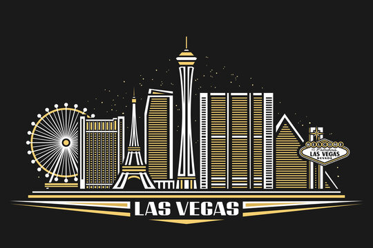 Vector illustration of Las Vegas, horizontal poster with simple design buildings and outline landmarks, urban concept with modern city scape and decorative font for words las vegas on dark background.