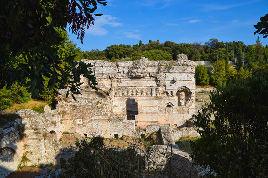 Ancient Roman baths archaeological ruins in Cimiez, Nice, South of France.