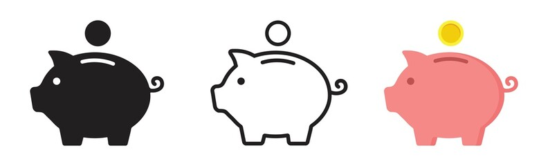 Piggy bank icon. Piggy bank saving money icon in different style. Baby pig piggy bank. vector illustration - fototapety na wymiar