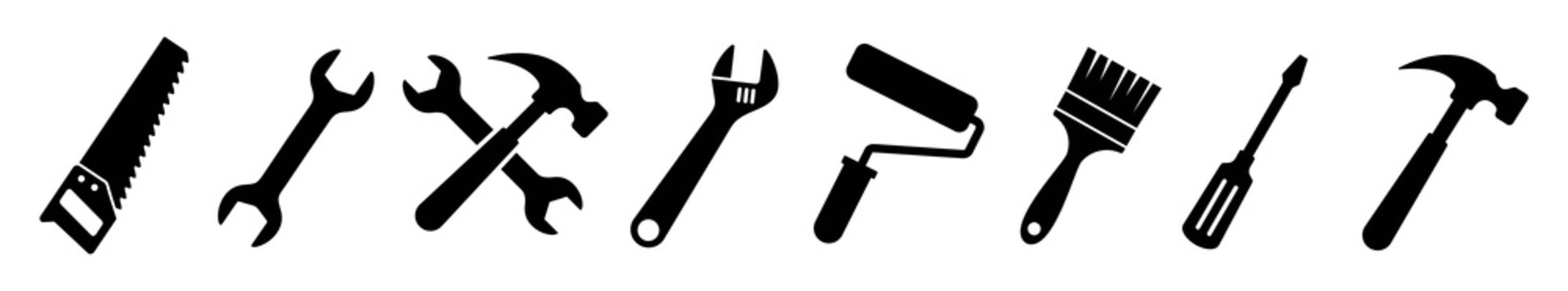Tool icon set. Instrument symbol, wrench, hammer, handsaw, paint brush, screwdriver, adjustment wrench, Vector illustration
