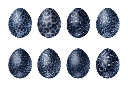 Fantastic denim eggs with leopard print. Modern clip art set on white background