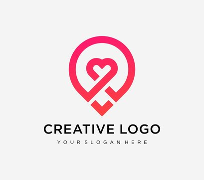Creative love location logo with heart and map marker.