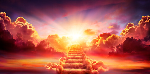 Fototapeta Stairway Leading Up To Sky At Sunrise - Resurrection And Entrance Of Heaven obraz