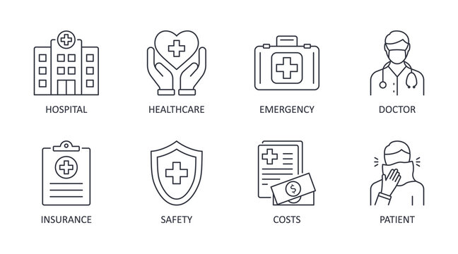 Vector icons medical care. Editable stroke. Hospital safety insurance doctor patient emergency healthcare costs. Stock line illustration on white background
