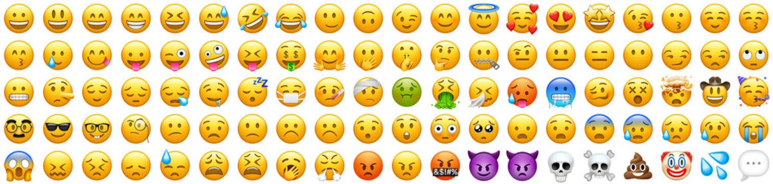 Recke, Germany - March 13, 2021: Smileys Emoticons Emojis big vector icons set