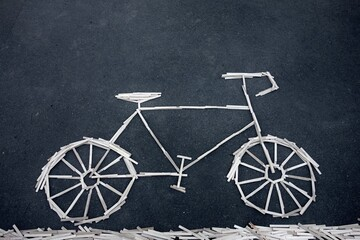 bicycle made of ice sticks