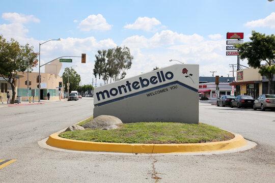 March 12, 2021 - Montebello, California: Montebello Welcome Sign.