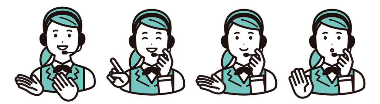 表情バリエーションのセット コールセンター、オペレーターの女性