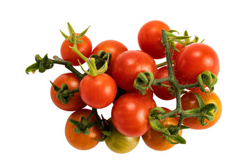 Fototapete - Top view pile of red, green  tomatoes isolated on white background with clipping path.