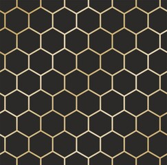 Vector seamless gold honeycomb ornament on black background. for background and wallpaper