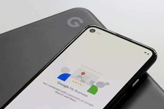 Portland, OR, USA - Mar 13, 2021: Google My Business mobile app login page is seen on a Google Pixel phone. Google My Business enables users to manage and optimize their Business Profiles on Google.