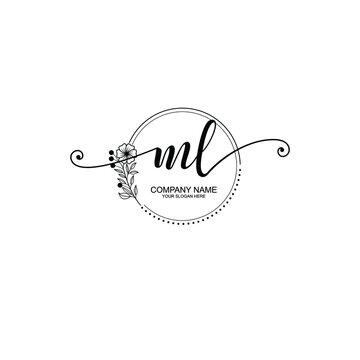 ML beautiful Initial handwriting logo template