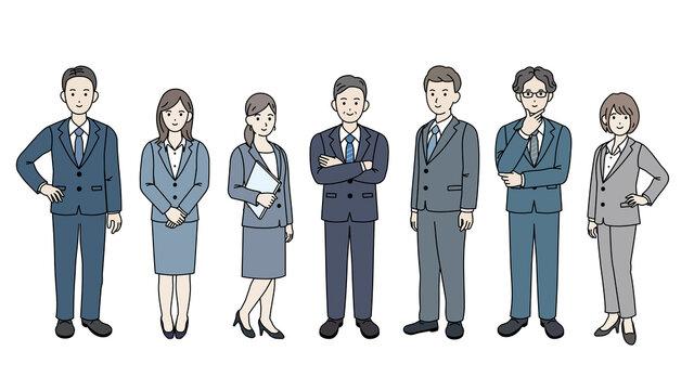 ビジネスマン スーツ 会社員 仲間 同僚 男女 全身 イラスト素材