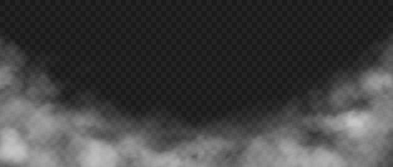 Obraz Smoke background. Realistic decorative fog effect and transparent magic mist. White vapor, creeping fume. Cloudscape and rising smog mockup. Dust or powder cloud, vector steam template - fototapety do salonu