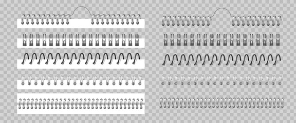 Metal binder. Realistic silver or black spiral coils for notebook. 3D helical fastening sheets set and sketchbook bindings on transparent background. Vector wire for stitching pages