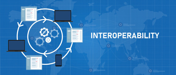 Fototapeta interoperability different technology software or device working together integrated exchange operation and data obraz