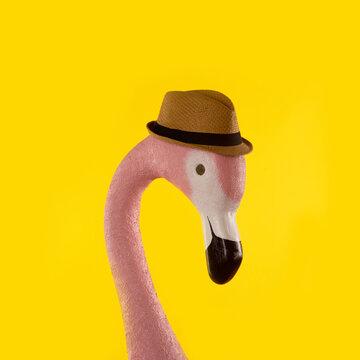 Decorative figure of pink flamingo on background