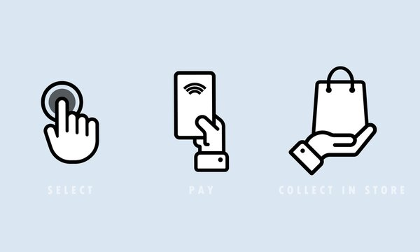 Select, pay and collect in store icon set. Cashless payment. Vector EPS 10. Isolated on background