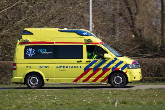 Dutch Volkswagen T5 ambulance van en-route.