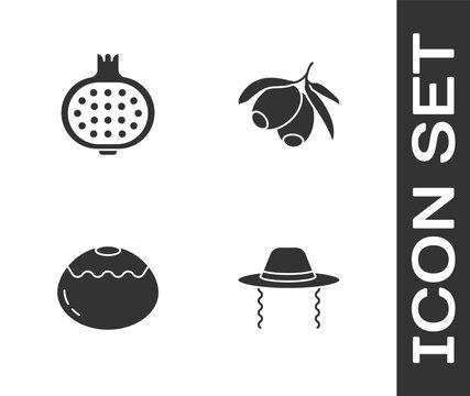 Set Orthodox jewish hat, Pomegranate, Jewish sweet bakery and Olives branch icon. Vector