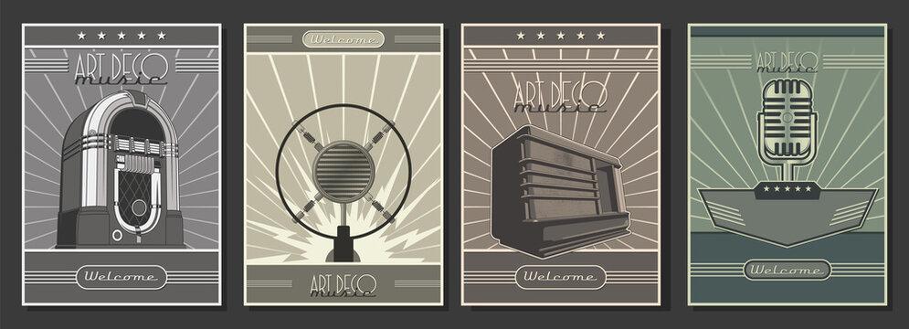 1920s - 1940s Art Deco Style Posters Template Set, Retro Radio, Microphones, Jukebox