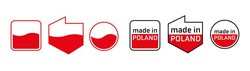 Fototapeta Wyprodukowano w Polsce PRODUKT POLSKI made in poland znak ikona symbol na opakowania obraz