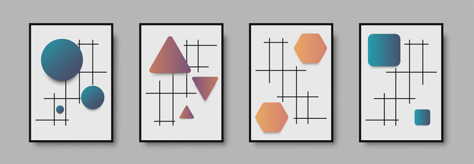 Absract geometric mid century wall art print set. Black and white poster with geometric shapes for wall art, interior gallery. Artwork for wall decor with neutral colors,minimal. Vector illustration