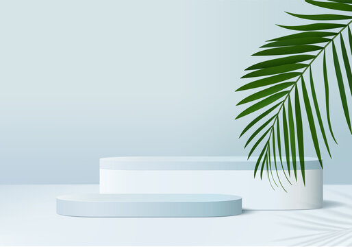 podium 3d background products display podium scene with green leaf geometric platform. background vector 3d render with podium. stand to show cosmetic products. Stage showcase on pedestal display blue
