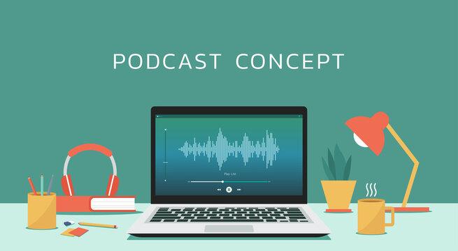 Podcast concept. Broadcasting online live streaming on laptop computer or on radio station, vector flat design illustration