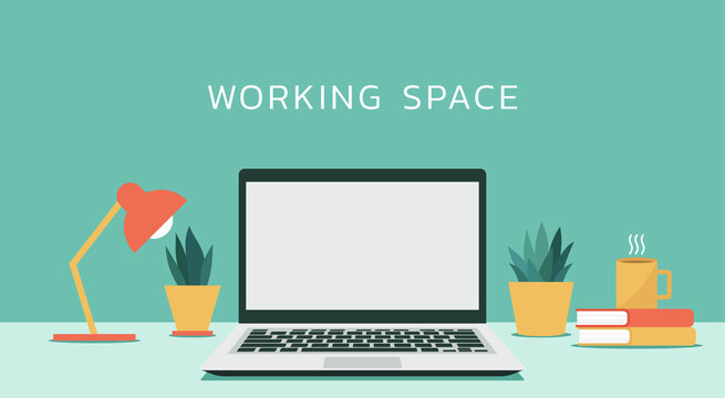 laptop computer with white blank empty display screen for copy space on working space, vector flat design illustration