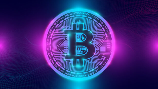 Bitcoin and neon background. Bitcoin and blockchain banner illustration. Mining and trade bitcoin concept. Bitcoin hits new record.