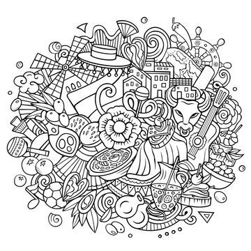 Spain hand drawn cartoon doodle illustration