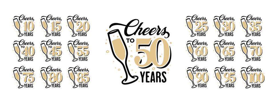 Cheers to 50 years lettering sign. Glass of shampagne with bubbles, golden numbers set from 10 to 100. Anniversary typography collection. Vector vintage illustration.