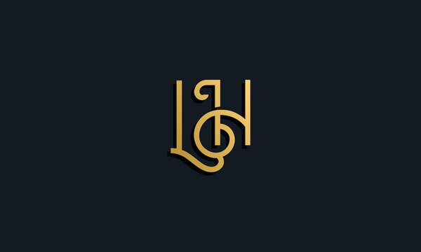Luxury fashion initial letter LH logo.