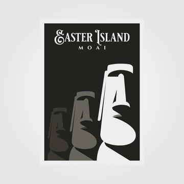 moai statue vector poster background illustration design, easter island national park travel poster design