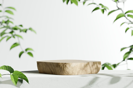 Wooden product display podium with blurred nature leaves background. 3D rendering