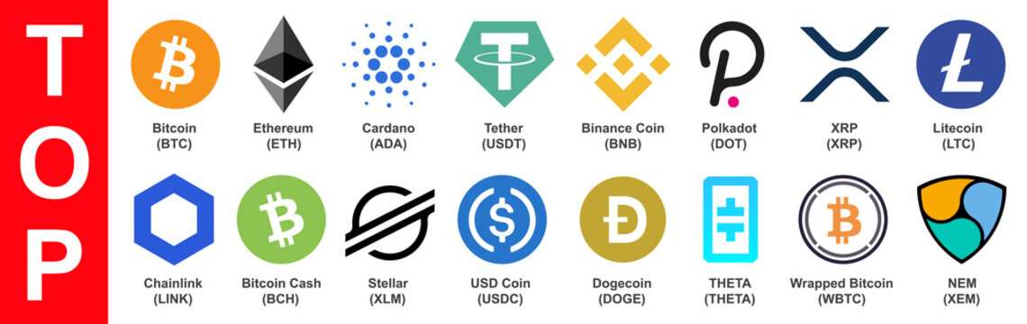 Set of top cryptocurrency tokens by capitalization in 2021 year, crypto currency blockchain assets logo set isolated - stock vector