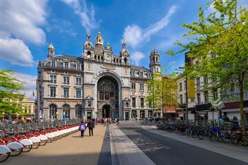 Antwerp Central Station in Antwerp, Belgium. Cozy cityscape of Antwerpen. Architecture and landmark of Antwerpen